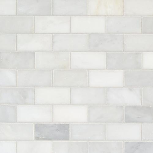 Sample Carrara White Marble Mint Glass Random Linear: Marble, Granite, & Terrazzo Restoration